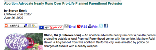 Abortion Advocate Nearly Runs Over Pro-Life Planned Parenthood Protestor_1246427056063