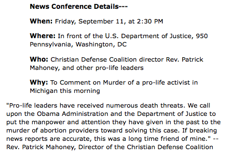 DC News Conference to Comment on Murder of Pro-Life Activist in Michigan this Morning - Christian Newswire_1252686550569